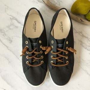 EUC- SPERRY- Black Lace- Up- Sneakers- Size 8